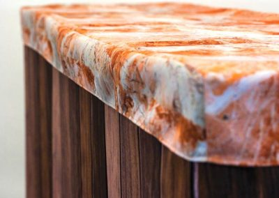 Bar Cover - Dark Wood Bar / Peach Marble Cap